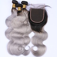 Beata Hair 8A Ombre Brazilian Virgin Hair Body Wave 3 Bundles Unprocessed Human Hair Weave Grey/#1B Dark Root And Ombre Body Wave Lace Closure