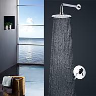 tanie Baterie prysznicowe-Bateria Prysznicowa - Współczesny Styl nowoczesny Chrom Przytwierdzony do ściany Zawór ceramiczny