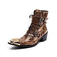 メンズ ブーツ アイデア 乗馬靴 ファッションブーツ 春 夏 秋 冬 レザー エナメル カジュアル パーティー ベックル ジッパー 編み上げ メタルトゥ ローヒール イエロー 1~1 3/4インチ