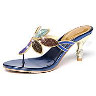 baratos Sapatos Femininos-Mulheres Sapatos Micofibra Sintética PU Verão / Outono Conforto / Inovador Sandálias Caminhada Salto Baixo Ponteira Pedrarias Preto / Azul