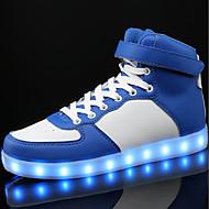 halpa -Poikien kengät PU Kevät Syksy Comfort Lenkkitossut Solmittavat LED Käyttötarkoitus Kausaliteetti Valkoinen Musta Sininen