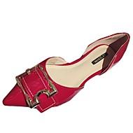 cheap Women's Flats-Women's Shoes PU Summer Comfort Flats Flat Heel Pointed Toe for Dress Black Red