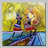 billiga Människomålningar-Hang målad oljemålning HANDMÅLAD - Människor Abstrakt / Moderna Utan innerram