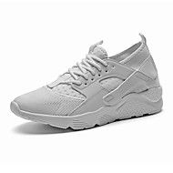 Men's Athletic Shoes Running Comfort Tulle Leatherette Spring Fall Casual Outdoor Split Joint Flat Heel Ruby Black White Flat