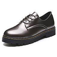 povoljno -Ženske Ravne cipele Udobne cipele PU Ljeto Kauzalni Hodanje Vezanje Ravna potpetica Crn Sive boje Braon 5 cm - 7 cm