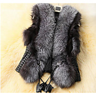 Women's Casual/Daily Street chic Fall Winter Fur CoatSolid Square Neck Sleeveless Regular Faux Fur Vest