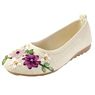 cheap Women's Flats-Women's Shoes Canvas Spring Fall Comfort Flats Flat Heel Round Toe Appliques for Casual Black Beige Red Blue