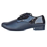 billige Moderne sko-Herre Latin Kunstlær Lær Høye hæler Innendørs Kustomisert hæl Svart Kan spesialtilpasses