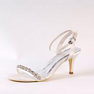 cheap Wedding Shoes-Women's Shoes Silk Spring Summer Basic Pump Wedding Shoes Stiletto Heel Peep Toe Rhinestone Chain for Wedding Dress Party & Evening Ivory