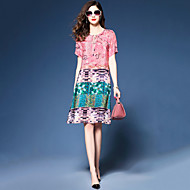 Damer Vintage Simpel Fest I-byen-tøj Plusstørrelser Løstsiddende Chiffon Kjole Trykt mønster Farveblok,Rund hals Knælang Kortærmet