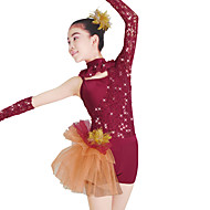 billige Udsalg-Ballet Trikoter Dame Ydeevne Blondelukning Tyl Lycra Paillette Blonde Langærmet Naturlig