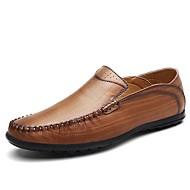 Muškarci Cipele Koža Ljeto Jesen Udobne cipele Natikače i mokasinke Hodanje Kombinacija materijala Pletena traka za Kauzalni Crn Braon