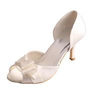 billige Bryllupssko-Dame Sko Strekksateng Sommer Basispumps bryllup sko Stiletthæl Titte Tå Sløyfe Krystall / Bryllup / Fest / aften