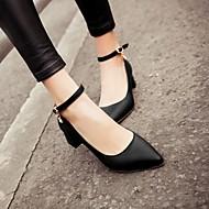 Damen Schuhe PU Frühling Herbst Komfort High Heels Niedriger Absatz Spitze Zehe Für Normal Schwarz Blau Rosa