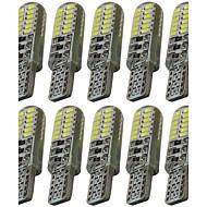10pcs t10 3014 24smd w5w 24led leitura luz indicador lâmpada carro automotivo levou placa luzes dc12v
