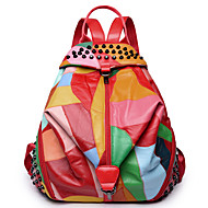 Women Bags All Seasons PU Backpack for Event/Party Casual Formal Office & Career Outdoor Black Red
