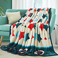 cheap Blankets & Throws-Coral fleece, Printed Stars Polyester/Cotton Blend Blankets