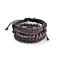 Homens Pulseiras de couro Jóias Básico Vintage Estilo Boêmio Ajustável Rock Estilo bonito Confeccionada à Mão bijuterias Pele Formato