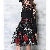 Dámské Sofistikované Jdeme ven Swing Šaty Květinový,Poloviční rukáv Tričkový Nad kolena Akryl Léto Podzim Mid Rise Neelastické Tenké