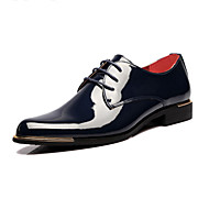 Men's Shoes Patent Leather Spring Fall Comfort Novelty Oxfords Lace-up For Wedding Party & Evening Office & Career Black Blue