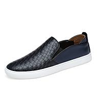 Unisex Zapatos Cuero de Napa Otoño / Invierno Mocasín Calzado de Barco Tacón Plano Negro / Amarillo / Fiesta y Noche 7KP6C