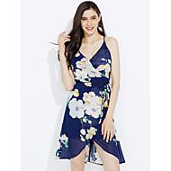 Χαμηλού Κόστους naomi-Γυναικεία Παραλία Μπόχο Θήκη Φόρεμα - Φλοράλ, Εξώπλατο Χιαστί Ασύμμετρο Ψηλοκάβαλο Τιράντες