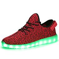 Damen Sneaker Komfort Leuchtende LED-Schuhe Tüll Herbst Winter Sportlich Normal Schnürsenkel LED Niedriger Absatz Schwarz Grau RotUnter