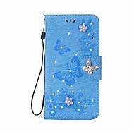 Kotelo iphone 7 7 plus lompakko tekojalokivi kohokuvioitu perhonen pu nahkakotelo iphone 6 6 p6s 6s plus 5 5s se