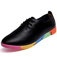 Women's Athletic Shoes Comfort Spring Fall Winter PU Casual Flat Heel White Black Orange Blue Flat