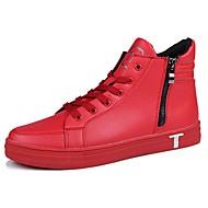 Homens sapatos Couro Ecológico Primavera Outono Conforto Tênis Ziper para Casual Branco Preto Vermelho