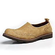 tanie Small Size Shoes-Męskie Buty Derma Skóra Wiosna Jesień Comfort Mokasyny i pantofle na Casual Coffee Camel Khaki