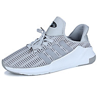 Women's Sneakers Comfort Light Soles Spring Fall Tulle Walking Shoes Casual Lace-up Flat Heel Black Gray Ruby 3in-3 3/4in