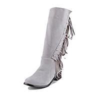 preiswerte -Damen Stiefel Cowboystiefel / Westernstiefel Reitstiefel Modische Stiefel Kunstleder Winter Normal Kleid Reißverschluss QuasteSchwarz