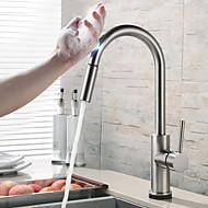 baratos Torneiras de Cozinha-Moderna Moderno/Contemporâneo Pia Separada Multi-Touch Níquel Escovado, Torneira de Cozinha