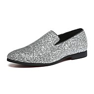 cheap Small Size Shoes-Men's Shoes Paillette / Glitter / Leather Spring / Fall Novelty / Comfort Loafers & Slip-Ons Walking Shoes Gold / Silver
