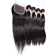 Straight Hairs With Closure 4X4 Size 4 Bundles Human Hair Weft Brazilian Virgin Hairs Women Hair Extensions