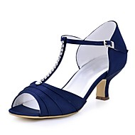 cheap -Women's Shoes Stretch Satin Summer Basic Pump Wedding Shoes Chunky Heel Peep Toe Crystal / Buckle Red / Green / Blue