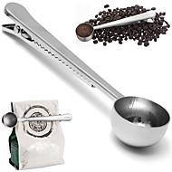 tanie Narzędzia pomiarowe-Uniwersalna łyżka z klipsem uszczelnienie worka pomiarowego kawa mielona narzędziem miarka kubek kuchnia stal heathful kuchennego