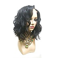 Ženy Paruky z přírodních vlasů Přírodní vlasy Se síťkou Celokrajkové 130% Hustota Plovoucí vlny Paruka Černá Krátký Střední Pro černošky