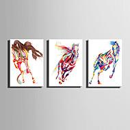 זול ציורי שמן-מצויר ביד בעלי חיים אנכי,מופשט (אבסטרקטי) שלושה פנלים בד ציור שמן צבוע-Hang For קישוט הבית