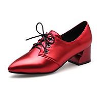 baratos Oxfords Femininos-Mulheres Sapatos Courino Inverno Outono Conforto Saltos Salto Robusto Dedo Apontado Cadarço para Casual Social Festas & Noite Preto