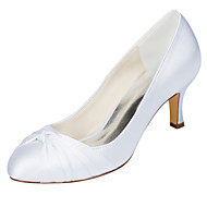 billige Bryllupssko-Dame bryllup sko Basispumps Strekksateng Vår Høst Bryllup Fest/aften Sløyfe Stiletthæl Blå Rosa Mørk Lilla Lysebrun Krystall 5 - 7 cm
