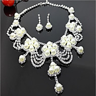 Γυναικεία Πολυεπίπεδο Κοσμήματα Σετ Απομίμηση Μαργαριταριού Λουλούδι Πολυεπίπεδο Περιλαμβάνω Κρεμαστά Σκουλαρίκια Κρεμαστό Λευκό Για Γάμου Πάρτι Γενέθλια