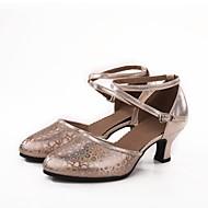baratos Sapatilhas de Dança-Mulheres Sapatos de Dança Moderna Sintético / Tafetá Salto Gliter com Brilho / Presilha / Estampa Salto Cubano Sapatos de Dança Prata /