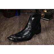 baratos Sapatos Masculinos-Homens Sapatos formais Pele Napa Outono / Inverno Vintage Botas Botas Curtas / Ankle Preto / Cinzento / Castanho Claro / Festas & Noite