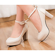 Women's Shoes PU Summer Comfort Heels For Casual White Black Beige Blue Pink