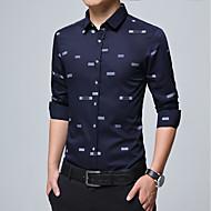 Masculino Camisa Social Casual Tamanhos Grandes Simples Todas as Estações,Sólido Algodão Poliéster Decote Quadrado Manga Longa Média