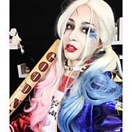 uniwigs comic harley quinn syntetisk blonder foran perle blandet farve blå og lyserød ombre farve lang bølget perle