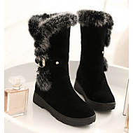 Women's Boots Comfort Snow Boots Nubuck leather Fabric Winter Casual Ruby Black Under 1in