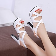 Women's Shoes PU Summer Comfort Heels Stiletto Heel Peep Toe For Casual White Black Blushing Pink
